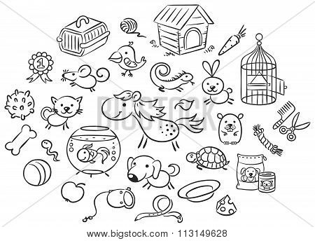 Set Of Black And White Cartoon Pet Animals With Accessories, Toys And Food