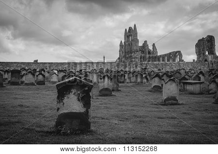 Black And White Monastery Cemetery In Whitby, North Yorkshire, U