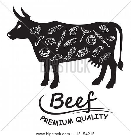 monochrome illustration with meat products on the background of the cow