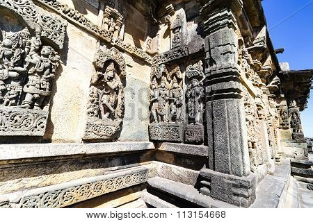 Beautiful artistic statues outer wall of Chennakesava temple, Belur captured on December 30th, 2015