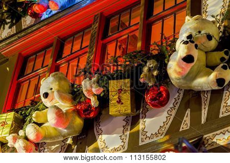 Shop-window And Street Decoration Of Strasbourg Before Christmas
