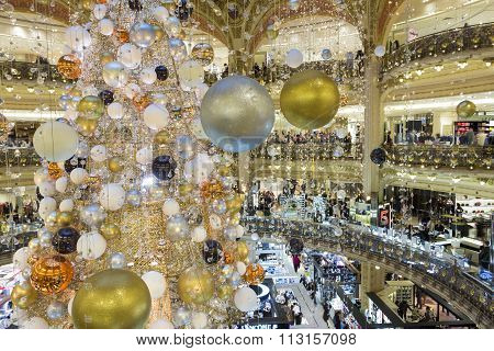 The Christmas Decoration At Galeries Lafayette Shopping Center, Paris, France.