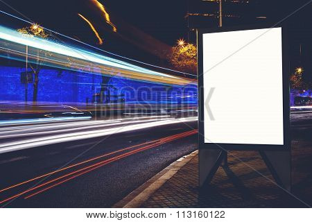 Advertising mock up with movement of cars on the background