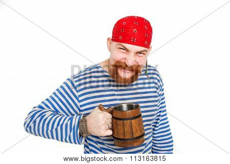 Happy Pirate Drinking Beer