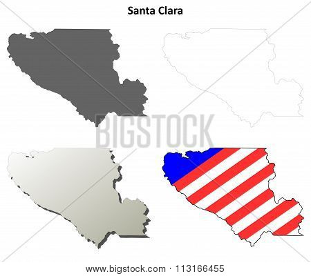 Santa Clara County, California outline map set