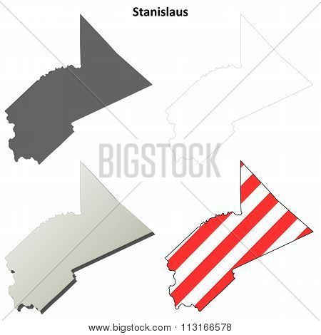 Stanislaus County, California outline map set