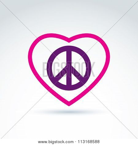 Peace and love theme, peace sign and love vector icons loving heart sign with peace symbol from 60s