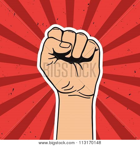 Vector illustration in retro style of clenched fist held high in protest. Comics art. poster