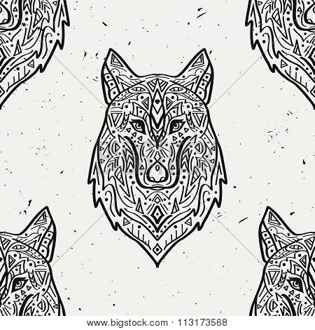 Vector Grunge Colorful Seamless Pattern With Tribal Style Wolf With Ethnic Ornaments.