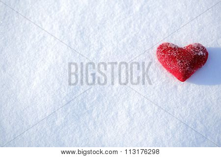Red Heart Shape On A Snowy Background