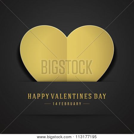 Golden Heart from paper Valentines day Greeting Card vector background. Good for Valentines day invitation, Valentine card, Valentines day background.