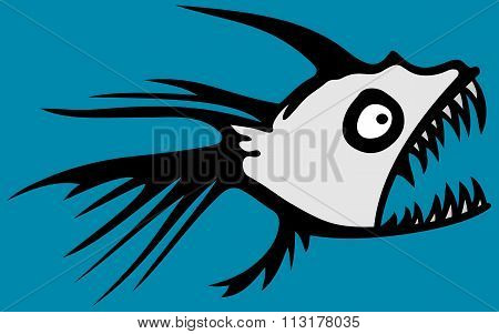 abstract scary piranha fish vector illustration