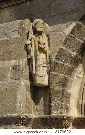 Santiago pilgrim, Romanesque sculpture, Church of Santa Marta de Tera, XI century, Via de la Plata, Castilla y Leon Zamora Spain poster