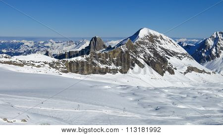 Ski Slope On The Glacier De Diablerets