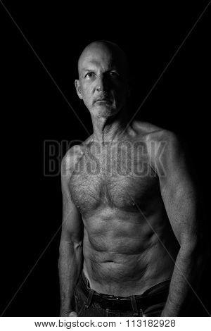 Shirtless Senior Man, Very Fit