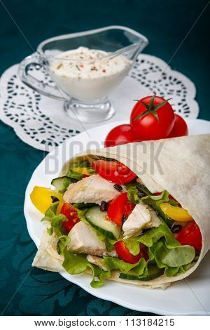 Shawarma With Chicken Meat And Vegetables