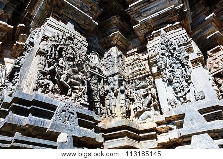 Artistic statues of beautiful deities at Channakesava temple, Belur captured on December 30th, 2015