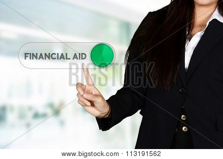 Confident businesswoman who getting financial aid