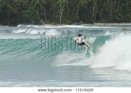 Surfer On Tropical Wave, Indonesia