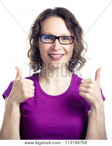 Beautiful smiling girl wearing braces.