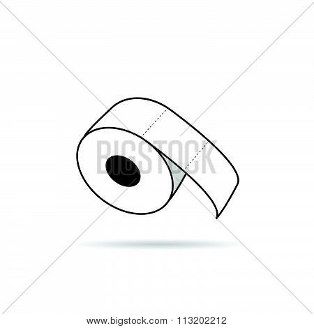Toilet Paper Roll Vector In White