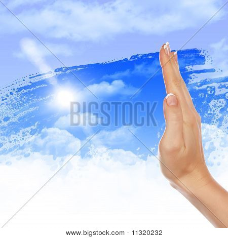 Hand wipes misted window