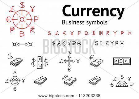 Dollar, Euro, Pound, Yen, Ruble, Rupee, Shexel, Peso, Bitcoin currency icons set. USD, EUR, JPY,  GB