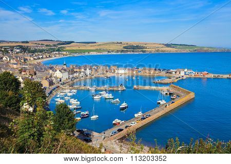 Aerial View Of Harbour At Stonehaven Bay, Aberdeenshire, Scotland, Uk