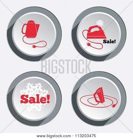 Home electric kettle. Sale icon with snowflake. Kitchen equipment, two-pin plug. Round circle button