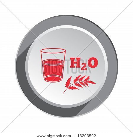 Glass of water, herb and water formula icon. Medical symbol. Health, medicin red sign on round butto