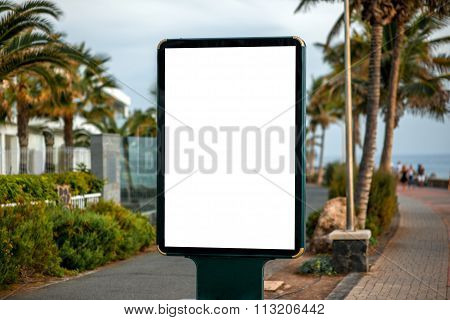 Billboard on tropical city background