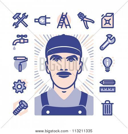 Blue collar worker with Fat Line Icons for web and mobile. Modern minimalistic flat design elements of construction, home repair tools