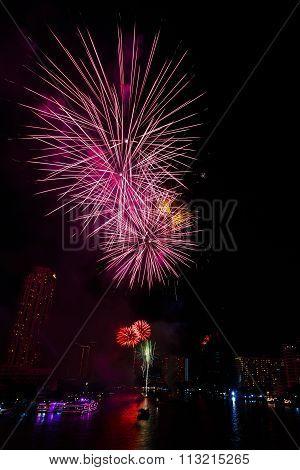 Fireworks Over Chaopraya River In Bangkok Thailand