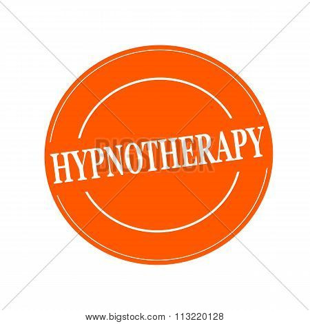 Hypnotherapy White Stamp Text On Circle On Orage Background