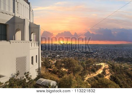 Los Angeles skyline sunset from the Griffith Observatory