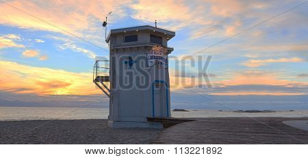 Panoramic view of the boardwalk at Main beach in Laguna Beach