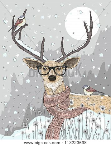 Cute Hipster  Deer With Scarf And Glasses. Winter Night Christmas Illustration.