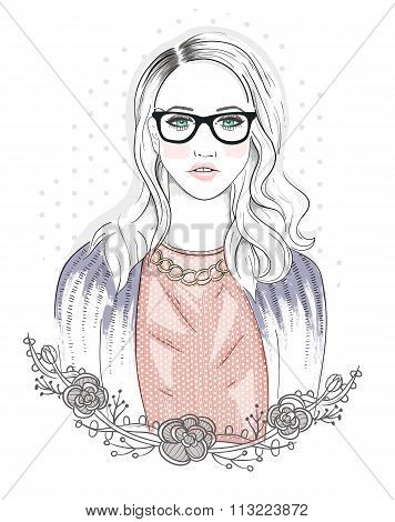 Young Fashion Girl Illustration. Hipster Girl With Glasses And Flowers.