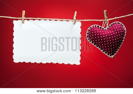 Colorful Fabric Hearts On Red Backgrounds