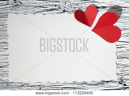 Colorful  Red Paper Heart On Vintage Paper