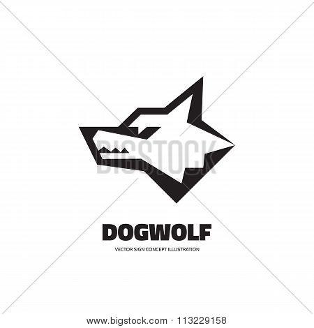 Wolf head vector logo concept illustration. Dog head vector logo concept illustration.