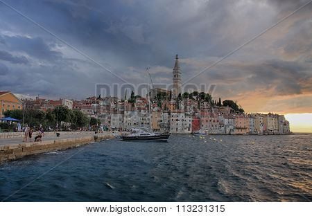 Old Town Rovinj In The Summer Evening In Croatia