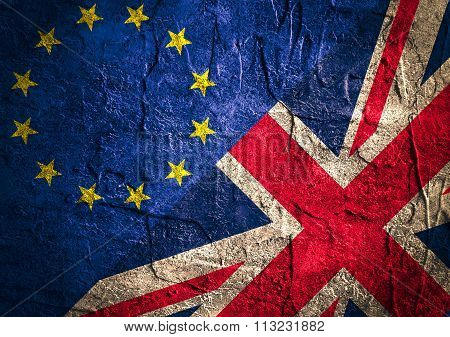 Image relative to politic relationships between Europe Union and United Kingdom. National flags on concrete textured backdrop. Brexit theme poster