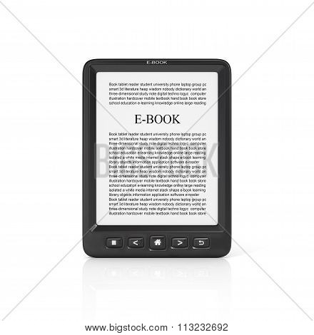 3D Render Of E-book Reader On A White Background.