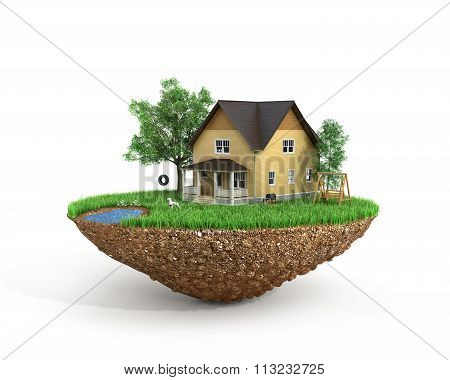Concept Of Sweet Home. House With On The Grass With Trees On The Island Is Flying.