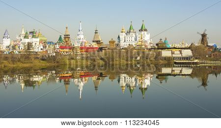 Izmaylovskiy Kremlin in region Izmaylovo - architecture ensamble of original wooden buildings includes vernisage of art and crafts and different museums famous tourist landmark.
