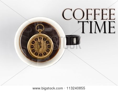 Coffee Time Concept - Watch Inside Mug On White 5 Minutes To 12 O'clock