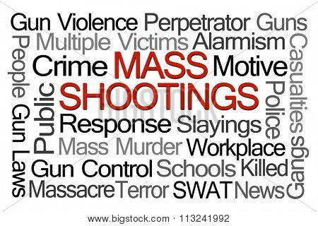 Mass Shootings Word Cloud on White Background