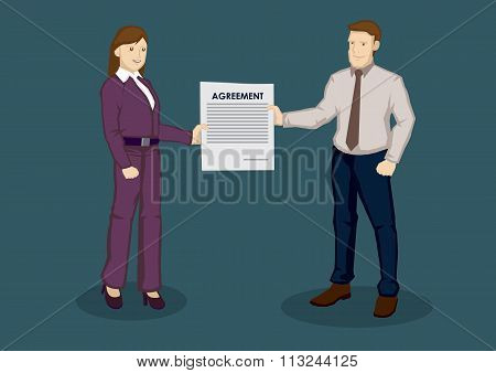 Business woman and businessman holding a contract of agreement between them. Cartoon vector illustration on business collaboration concept isolated on green background. poster