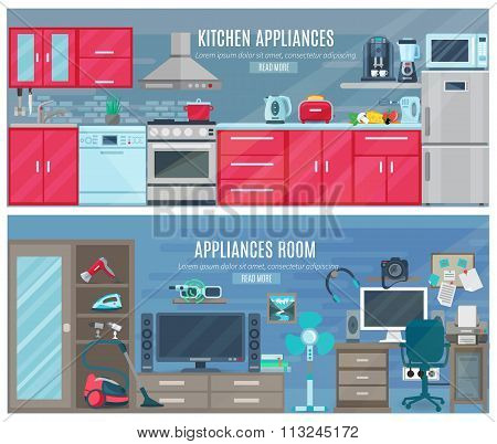 Household  horizontal banners with electronic and digital appliances in kitchen and room interiors flat vector illustration poster